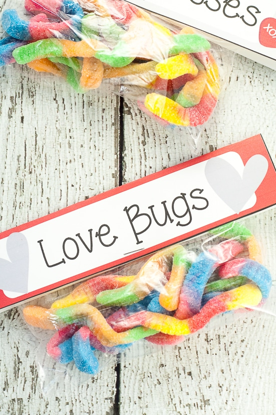 Free Printable Gummy Worm Valentines for kids - Free Gummy Worm Valentine Printables that are easy to put together and perfect for kids to hand out at their school Valentine's Day party.
