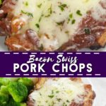Juicy pork chops topped with bacon and cheese. This 5 ingredient Bacon Swiss Pork Chops recipe is quick, easy, low carb, and an instant family favorite!
