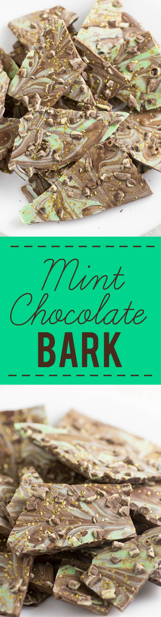 Mint Chocolate Bark Recipe - Easy Mint Chocolate Bark recipe with smooth, rich chocolate swirled with mint flavored white chocolate makes a quick, easy, and decadent dessert. YES! Love mint chocolate. This would be perfect for Christmas or St Patrick's Day.