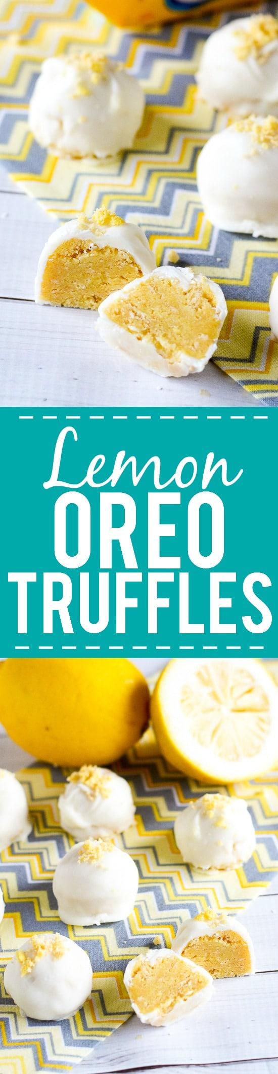 Lemon Oreo Truffles Recipe -Zesty and sweet Lemon Oreo Truffles covered in creamy white chocolate are a super easy dessert recipe that's no bake and a guaranteed hit! Easy no bake dessert recipe. Oreo truffles are the best!