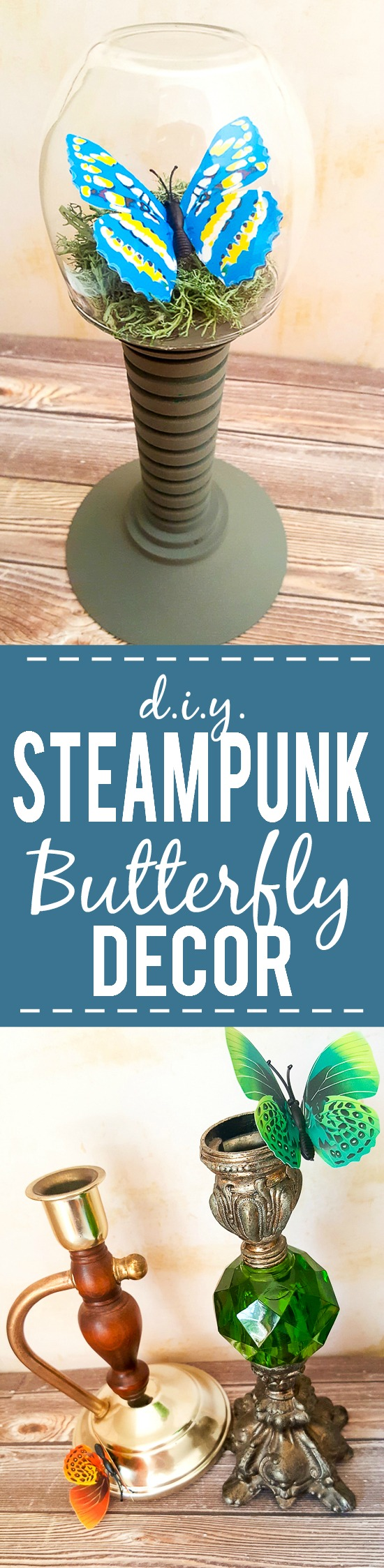 DIY Steampunk Butterfly Decor -Make this unique and pretty DIY Steampunk Butterfly Decor project with just a few simple supplies, including some vintage finds from your local thrift store.