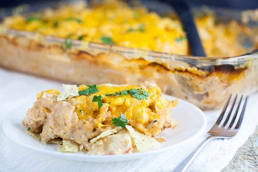 Chicken Nacho Bake Recipe -Creamy, crunchy, and cheesy, this Chicken Nacho Bake recipe is a crowd-pleasing easy casserole recipe with just 5 ingredients. Cheesy, quick and easy family dinner recipe with chicken breast.