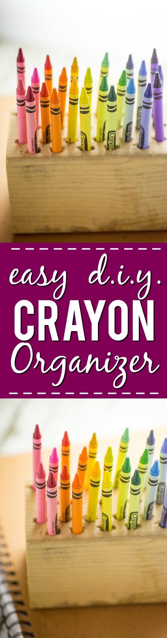 DIY Easy Crayon Organizer tutorial - Make this quick and easy Crayon Organizer for the kids to store their crayons or even colored pencils or markers. It's cheap, easy to make, easy to use, and a pretty way to organize the coloring mess! Perfect easy craft supplies organization for kids!