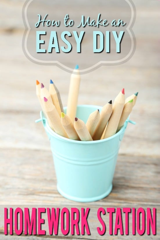 How to Make Your Own easy DIY Homework Station - Set your kids up for success this school year with a DIY Homework Station that's just for them to work on their homework and school projects stocked with everything they might need. School and craft supplies organization ideas for kids