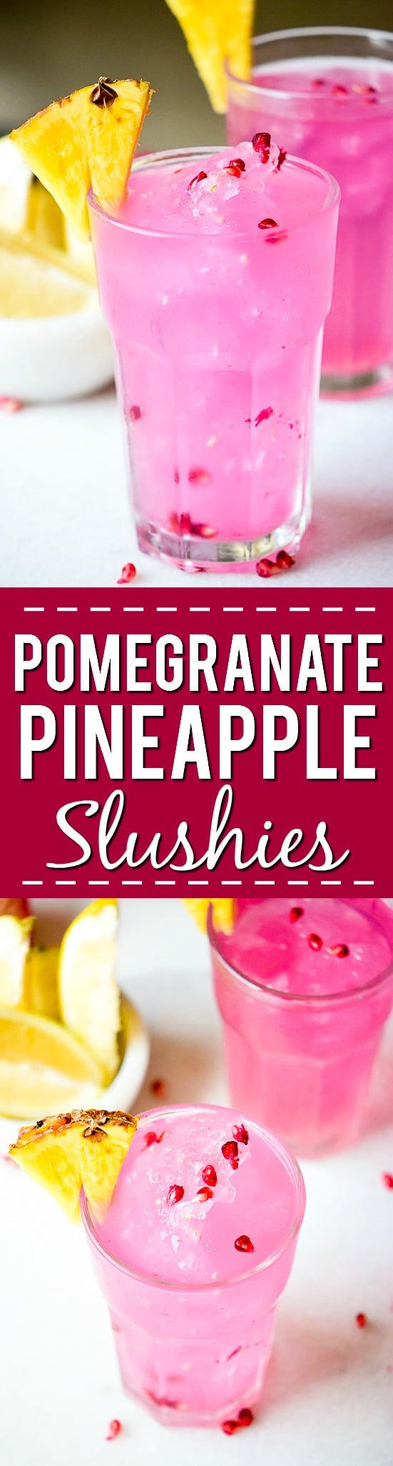 Pomegranante Pineapple Slushies Recipe - Cool, citrus flavors make this Pomegranate Pineapple Slushies recipe makes a perfect Summer refresher to cool off on a hot day. Easy Summer non-alcoholic drink recipe that kids can enjoy too!