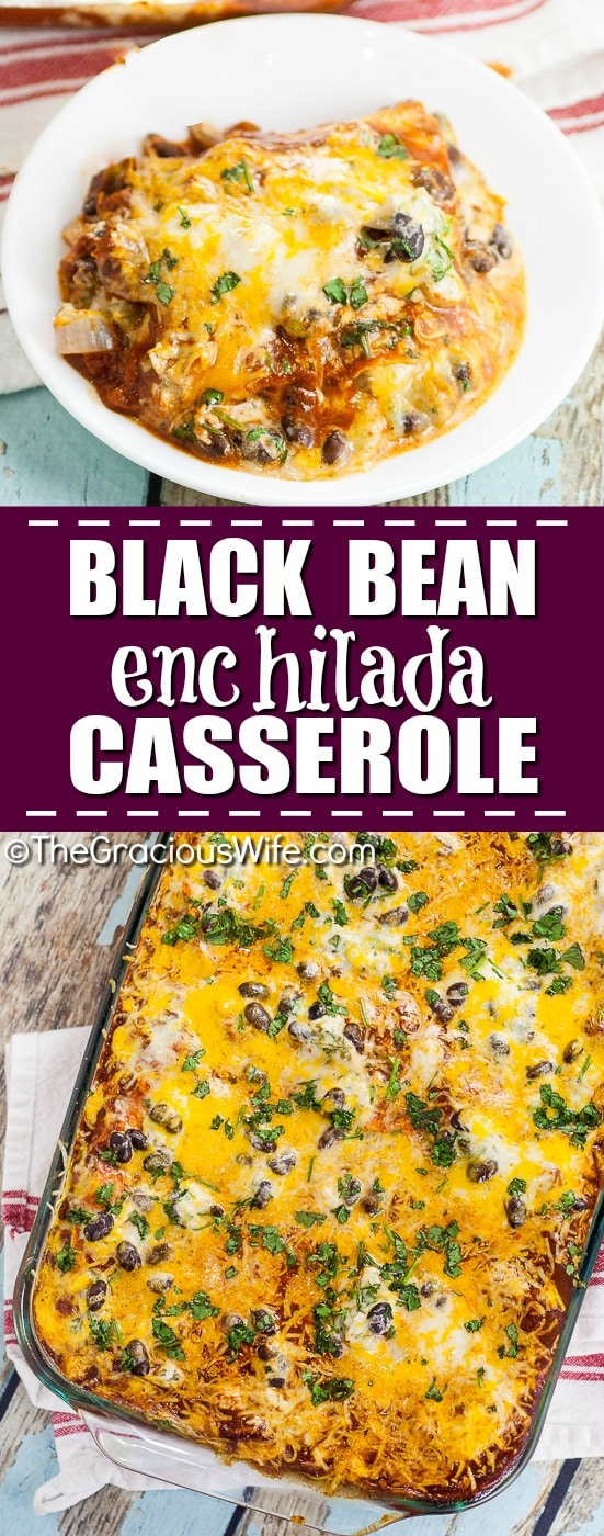 Black Bean Enchilada Casserole Recipe - Quick and easy Black Bean Enchilada Casserole is a perfect easy family dinner recipe with simple ingredients and all your favorite enchilada flavors in a baked casserole.
