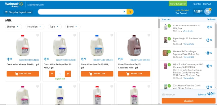 Walmart Online Grocery Pickup computer screenshot