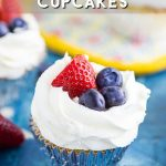 Fresh juicy berries mixed into a soft vanilla cupcake topped with creamy whipped cream cheese frosting and more fresh berries to top off these Berries and Cream Cupcakes. Delicious and perfect for summer!