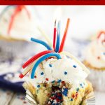 Firecracker Cupcakes are so fun and perfect for celebrating summer! They're made with a moist vanilla cupcake with a festive surprise inside and topped with vanilla buttercream, sprinkles, and an edible firework. These are perfect for Memorial Day and 4th of July treats!