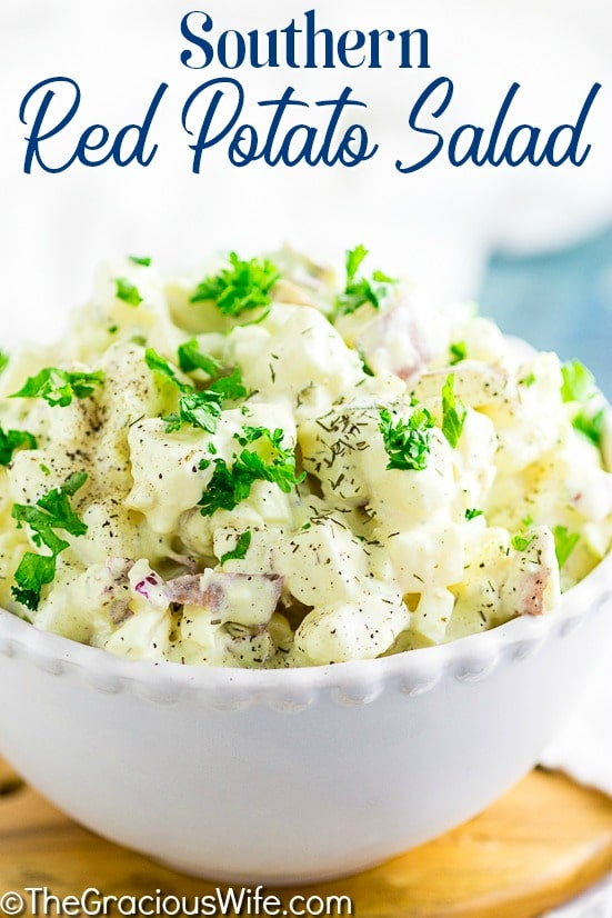 Creamy Southern Red Potato Salad with red potatoes, hard boiled eggs, mayo, mustard, and relish. Once you try this amazing potato salad recipe, you'll never make potato salad any other way! Perfect for potlucks, BBQs, cookouts, and basically every day!