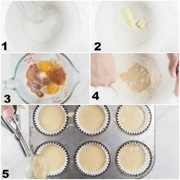 Collage of the steps stated below of how to bake firecracker cupcakes.