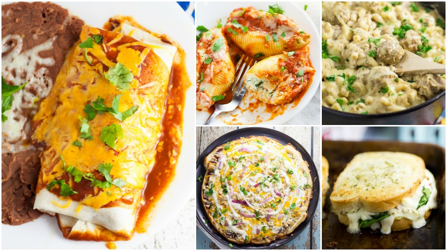 Comfort food recipes found on The Gracious Wife, including a black bean and rice burrito, 5 cheese stuffed shells, Swedish meatball mac and cheese, barbecue ranch chicken pizza, and 5 cheese white pizza grilled cheese
