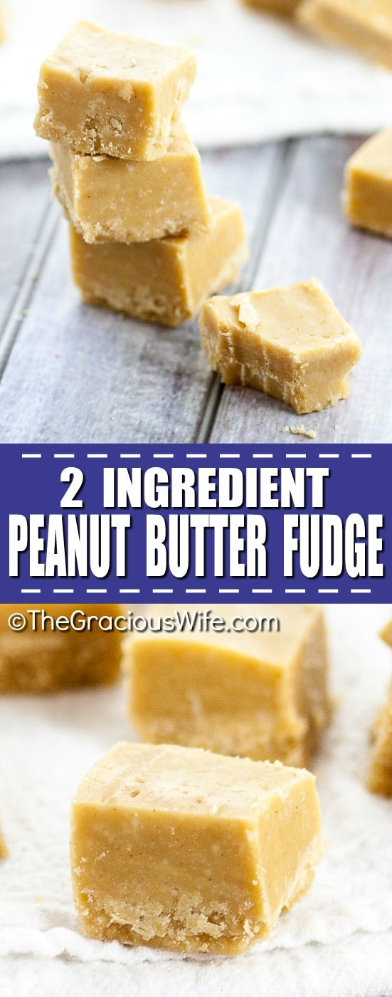 2 Ingredient Microwave Peanut Butter Fudge - This easy fudge is just 2 ingredients and takes about five minutes to prepare. Everything is made in one bowl and cooks in the microwave. So little work, so much delicious!