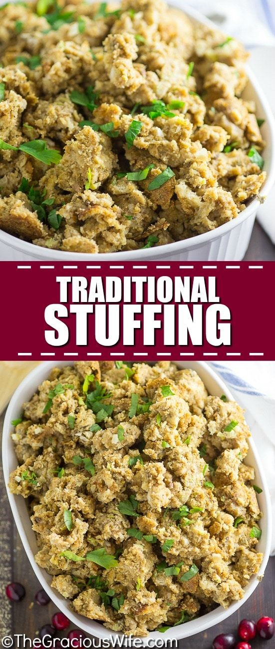 Traditional Stuffing Recipe - The BEST Traditional Stuffing recipe with classic ingredients made truly amazing by a couple special tricks from grandma's kitchen! #recipe #Thanksgiving #stuffing #dressing #stuffingrecipe #ThanksgivingRecipe