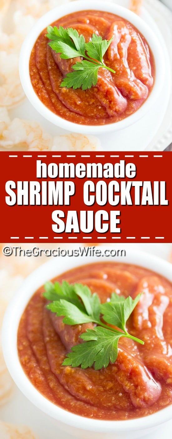 Homemade Shrimp Cocktail Sauce Recipe - Fresh and zesty Homemade Shrimp Cocktail Sauce recipe with just 5 simple ingredients. Serve with your next shrimp cocktail! This shrimp cocktail recipe is SO easy and well worth the effort! Perfect, classic appetizer!