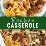 "Reuben casserole collage with a plate of the casserole on top and the casserole in the baking dish on the bottom with the words ""Reuben Casserole"" in the center."