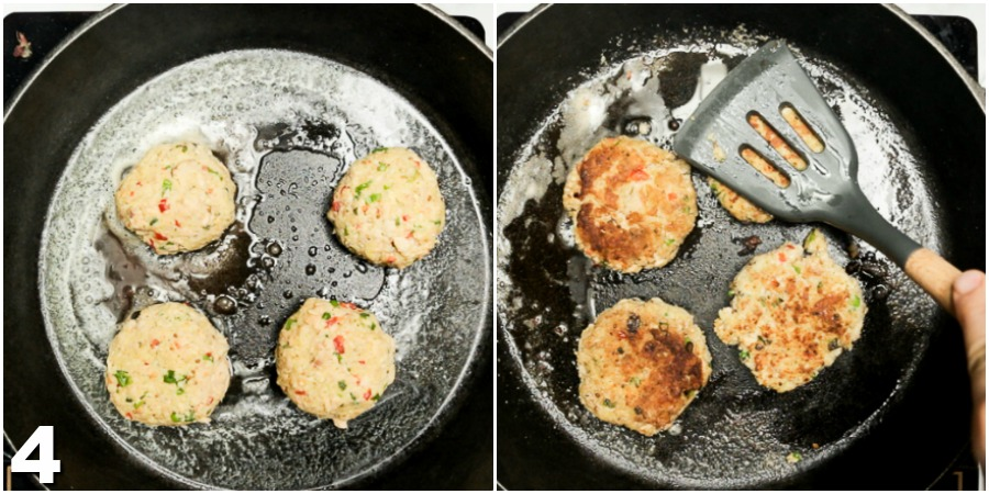 Salmon croquettes being pan-fried in butter in a cast iron skillet.