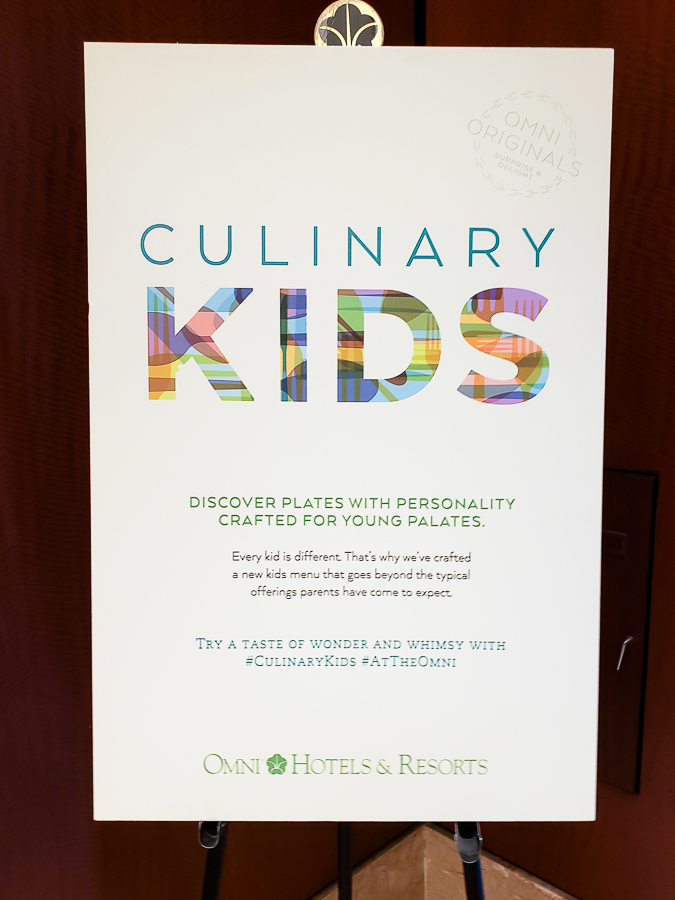 Culinary Kids sign in the Omni Chicago Hotel lobby