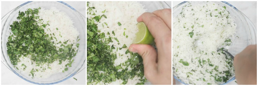 Collage of cilantro and lime being added to white rice in a clear glass bowl.
