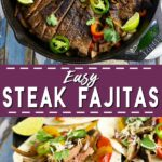 Juicy and delicious skirt steak fajitas, made totally from scratch with homemade seasoning to make a homemade marinade for tender skirt steak make a simple, quick and easy dinner for the whole family. Make it in a cast iron skillet or on the grill!