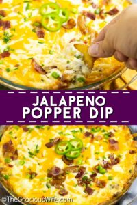 Jalapeno Popper Dip is a creamy, cheesy dip with spicy jalapenos and savory bacon. Even better than the familiar appetizer, this dip will go fast!