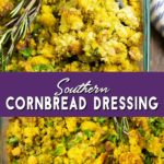 THE BEST traditional homemade Southern Cornbread Dressing recipe perfectly seasoned with onions, celery, and sage. A simple old fashioned dish that's moist, delicious, and easy to make! Even better than grandma's! Makes a delicious addition to every holiday and Thanksgiving table.