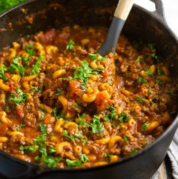 This warm comforting American Goulash is made with simple ingredients, all in one pot! Easy, home-style comfort food that's perfect for family dinner.