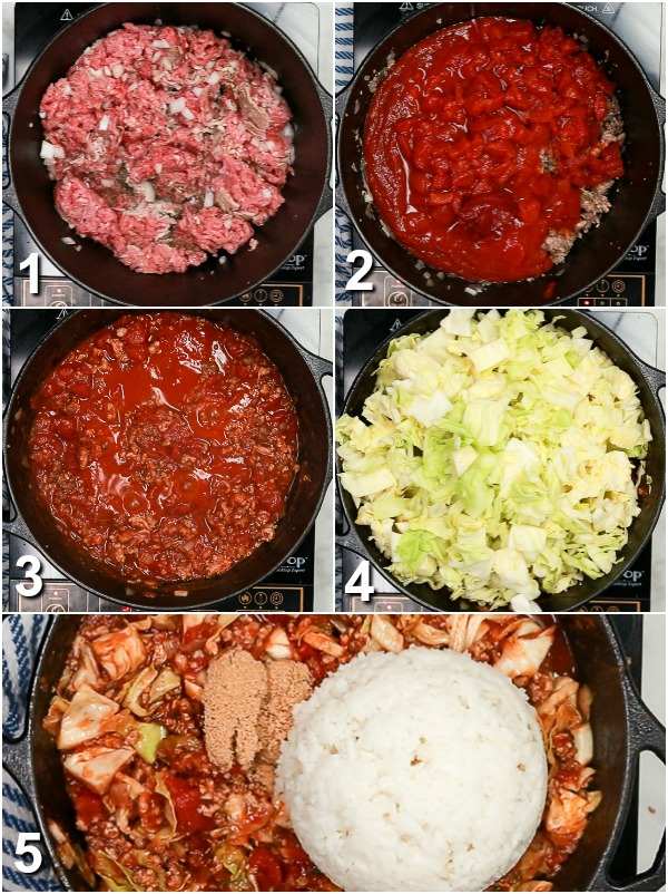 Collage of how to make unstuffed cabbage rolls